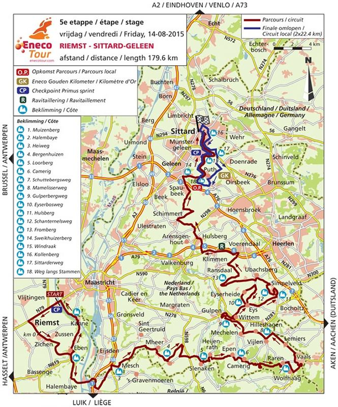 Eneco Tour 2015 Route stage 5 Riemst SittardGeleen