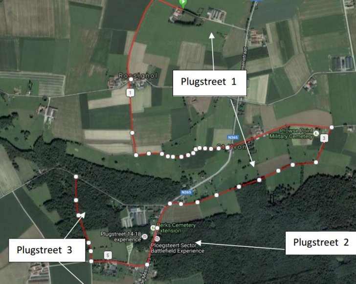 Gent-Wevelgem 2018: Map of the Plugstreets - source: www.gent-wevelgem.be