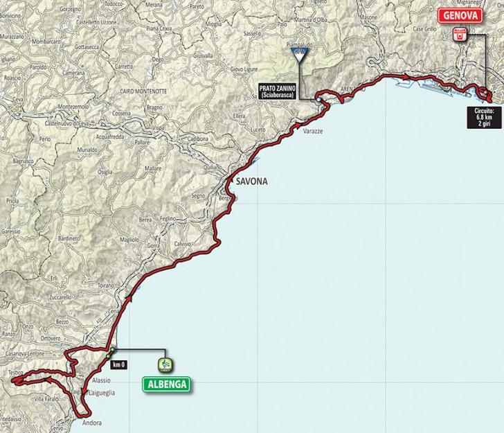Giro 2015 Route stage 2: Albenga – Genoa