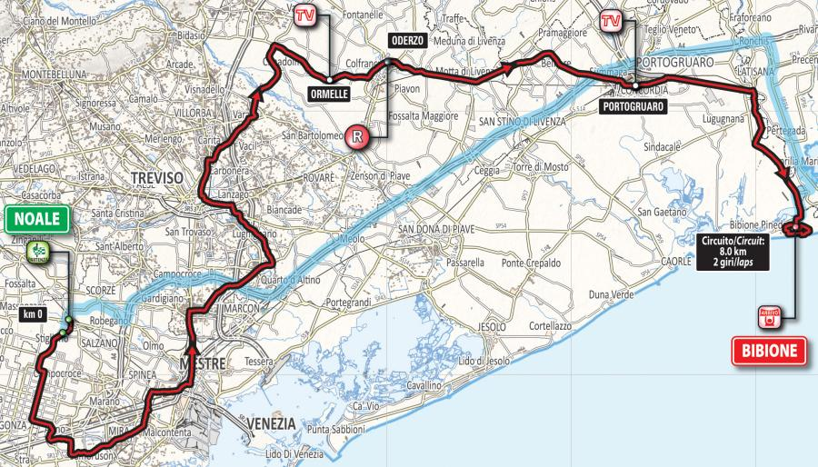 Giro d'Italia 2016 Route stage 12: Noale - Bibione - source: gazetta.it