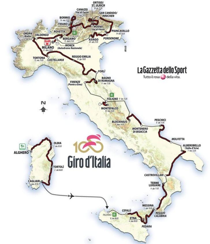 Giro 2017 Route stage 18 Moena Ortisei
