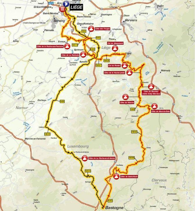 Liège-Bastogne-Liège 2019: The Route