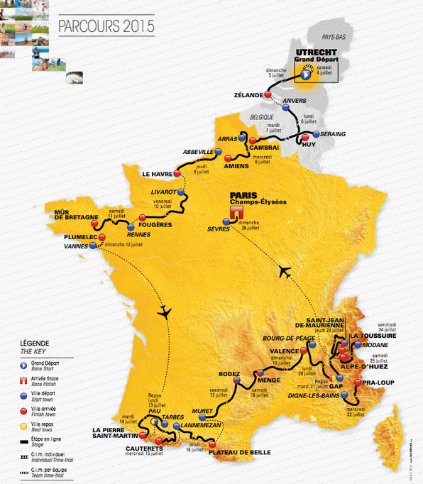 Tour de France 2015 Route and stages