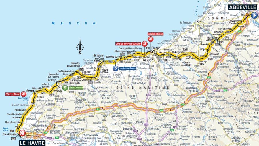 Tour de France 2015 Route stage 6 Abbeville Le Havre