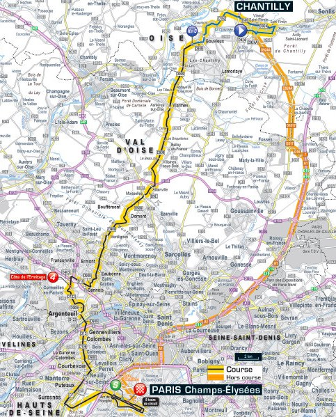 Tour De France Route Stage Chantilly Paris - Paris map 2016