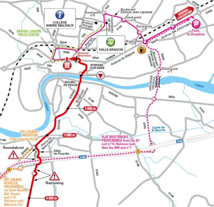 Tour de France 2017 Route stage 16 Le Puy en Velay Romans sur Isre