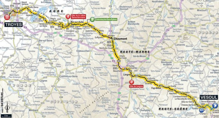 Tour de France 2017 Route stage 6 Vesoul Troyes