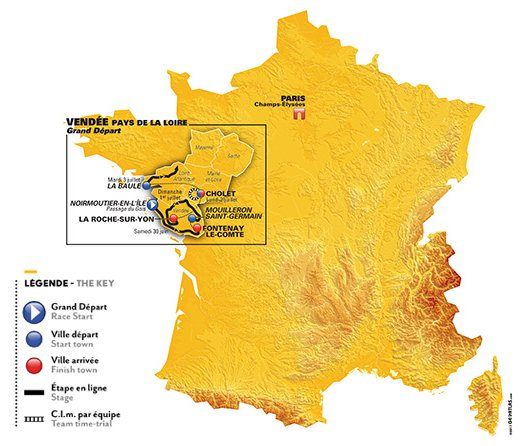 La France Map.Tour De France 2018 The Route