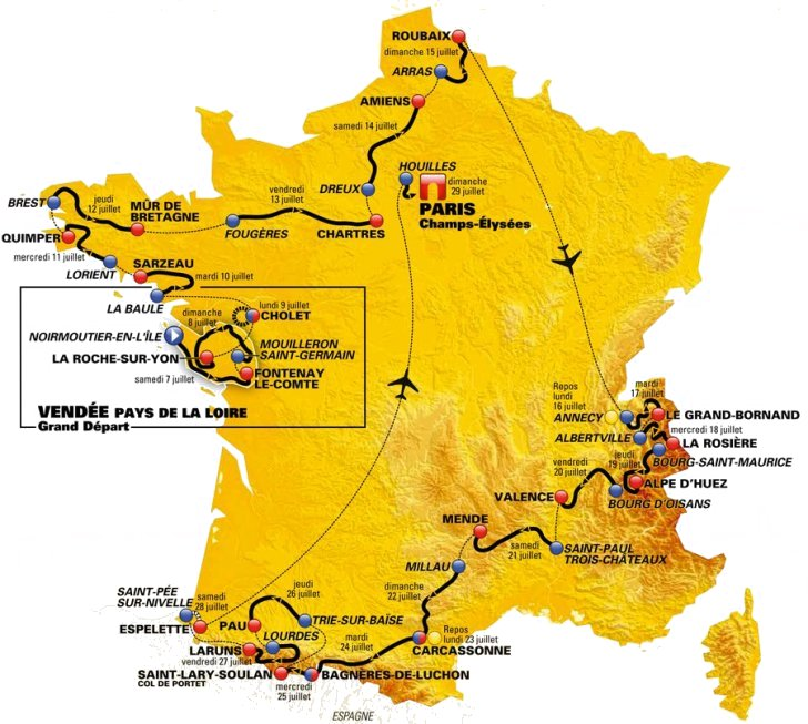 Map Of France Key Stage 2.Tour De France 2018 Route And Stages