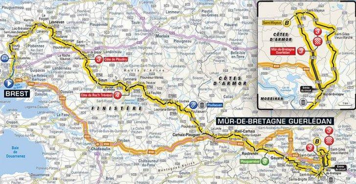 Tour De France 2018 Route Stage 6 Brest Mur De Bretagne