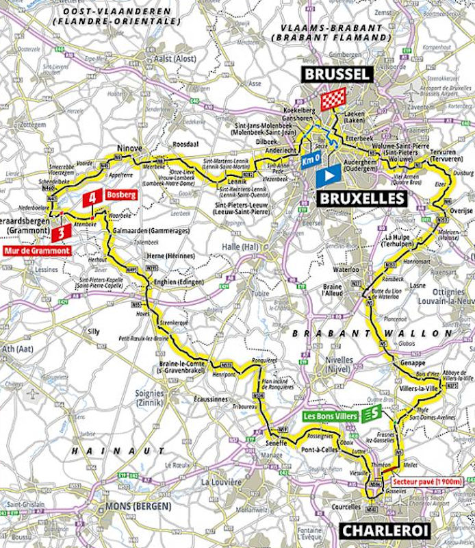 Tour de France 2019 Route stage 1: Brussels - Brussels