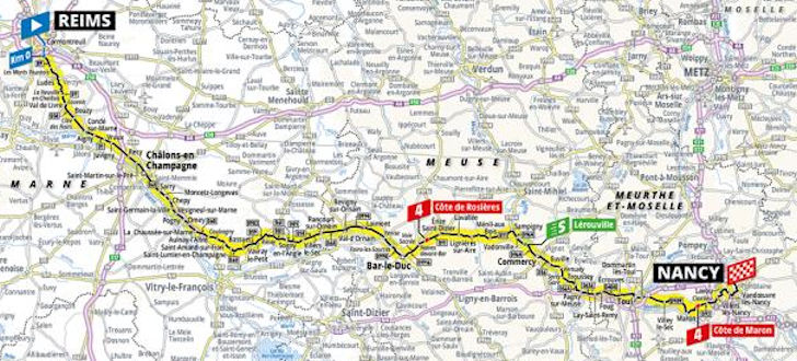 Map Of France Nancy.Tour De France 2019 Route Stage 4 Reims Nancy