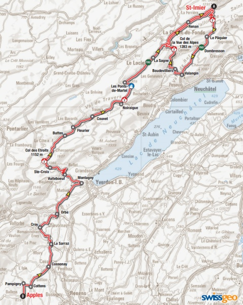 Tour de Romandie 2015 Route stage 2: Apples – Saint Imier