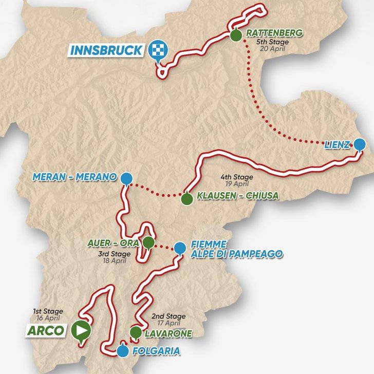 Tour of the Alps 2018: The Route
