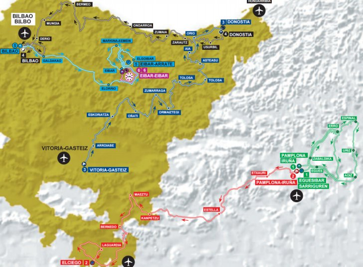 Map Of Spain Eibar.Tour Of The Basque Country 2017 Route Stage 5 Bilbao Eibar Arrate