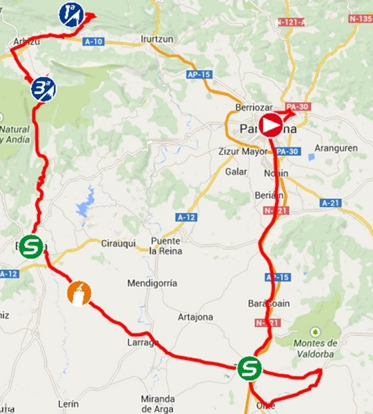 Vuelta 2014 Route stage 11: Pamplona