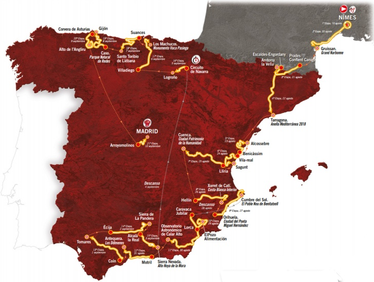 Map Of Tour Of Spain 2017.Vuelta 2017 Route And Stages