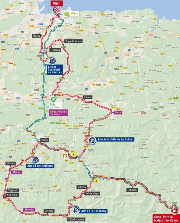 Vuelta 2017 Route stage 19 Caso Parque de Redes Gijn