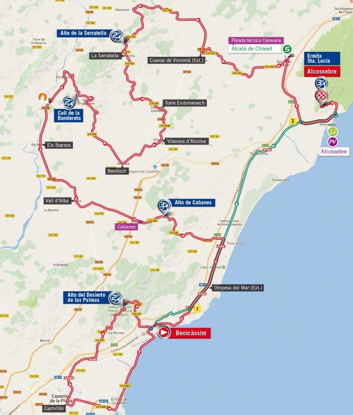 Vuelta 2017 Route stage 5 Benicassim Ermita Santa Lucia Alcossebre