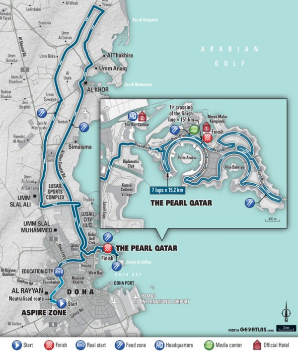 Where Is Doha Qatar On The World Map.World Cycling Championships 2016 Doha Qatar Route Road Race Men