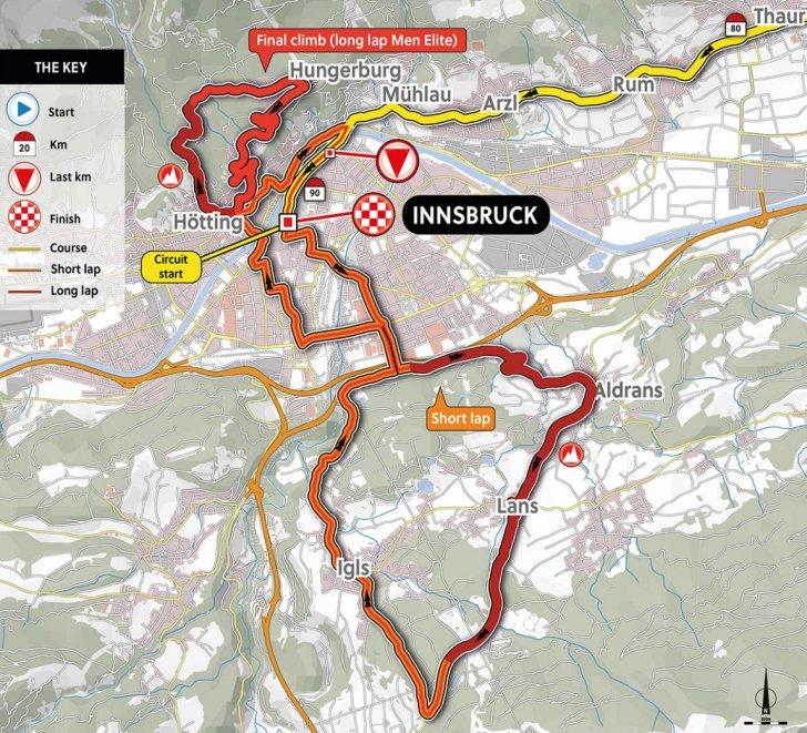 World Cycling Championships 2018 Innsbruck, Austria: Route road race on austria ski map, eisenstadt austria map, lienz austria map, wattens austria map, leogang austria map, maria alm austria map, gmunden austria map, schladming austria map, mondsee austria map, durnstein austria map, seefeld austria map, schruns austria map, zell am see austria map, semmering austria map, zillertal austria map, gosau austria map, lofer austria map, bad gastein austria map, hall in tirol austria map, kirchberg austria map,